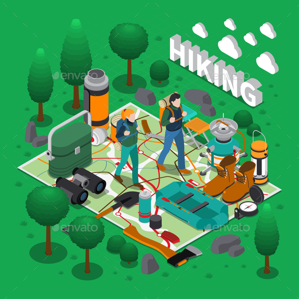 Camping Isometric Composition - Sports/Activity Conceptual