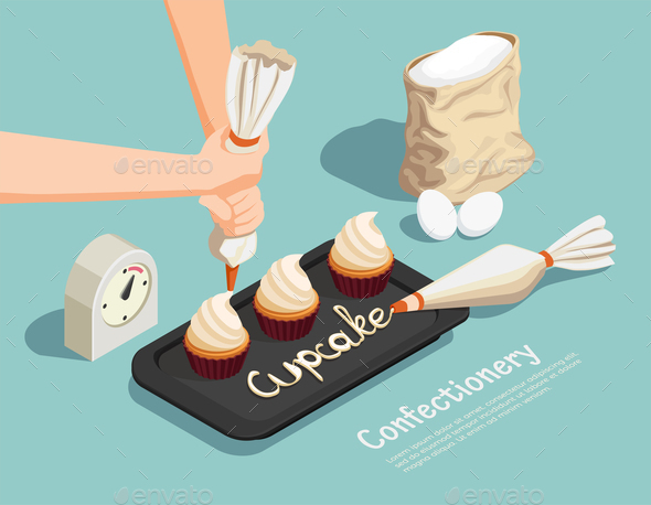 Confectionery Chef Isometric Concept - Food Objects