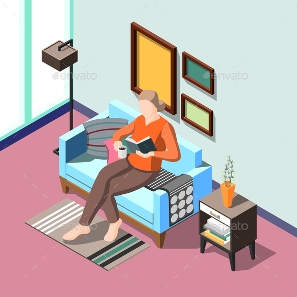 Daily Routine Isometric Background - People Characters