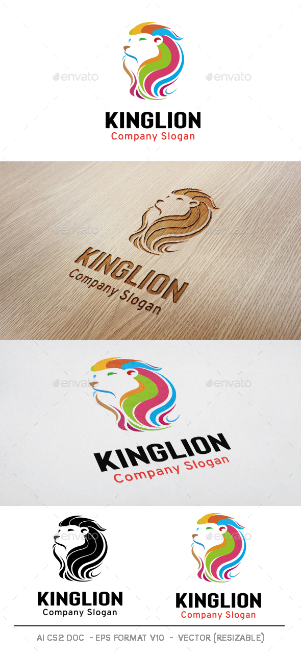 Colorful Lion Head Logo - Animals Logo Templates