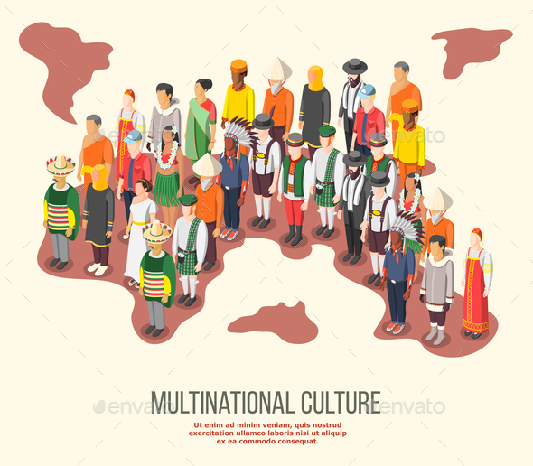 Multinational Culture Isometric Composition - People Characters