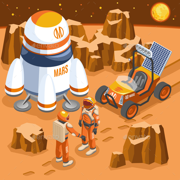 Mars Exploration Isometric Illustration - Landscapes Nature