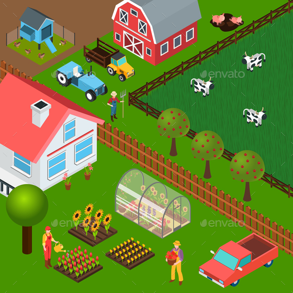 Farm Isometric Illustration - Animals Characters