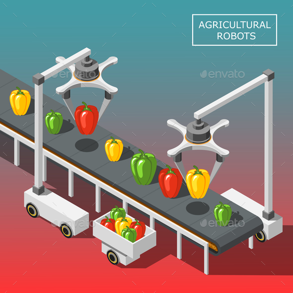 Agricultural Robots Isometric Background - Food Objects