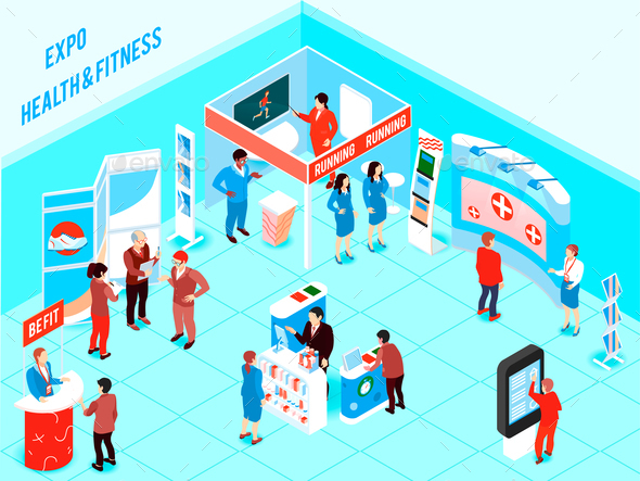 Isometric Expo Illustration - People Characters