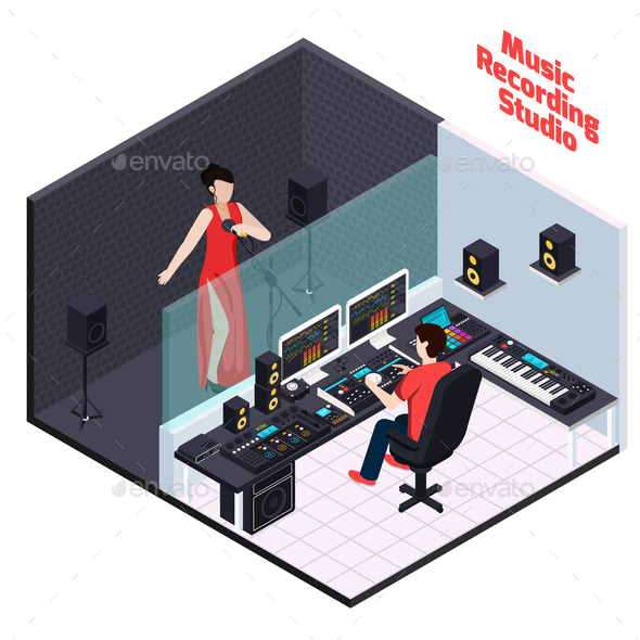 Vocal Recording Isometric Composition - Miscellaneous Vectors