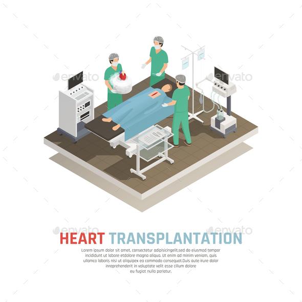 Human Heart Transplantation Composition - Health/Medicine Conceptual