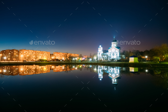 Evening View Of Illuminated Alexander Nevsky Orthodox Church And - Stock Photo - Images