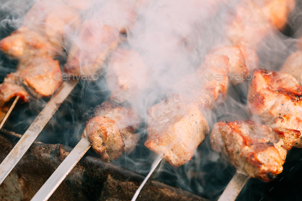 Grilled Barbecue Meat Shashlik Shish Kebab Pork Meat Grilling On - Stock Photo - Images