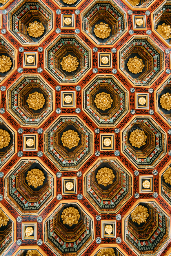 Mir, Belarus. Ceiling Roof In The Dining Room Izba In Castle Com - Stock Photo - Images