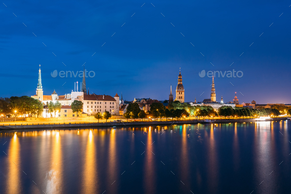 Evening In Riga, Latvia. Night View With Blue Sky. Copyspace. No - Stock Photo - Images