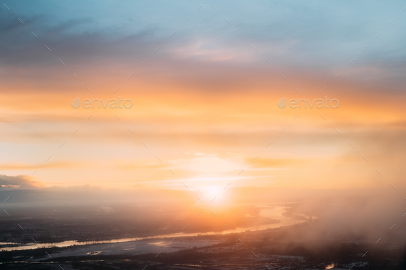 Sunset Sunrise Over Earth. Aerial View From High Altitude Flight - Stock Photo - Images