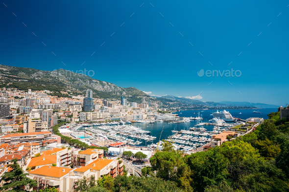 Monaco, Monte Carlo Cityscape. Real Estate Architecture On Mount - Stock Photo - Images