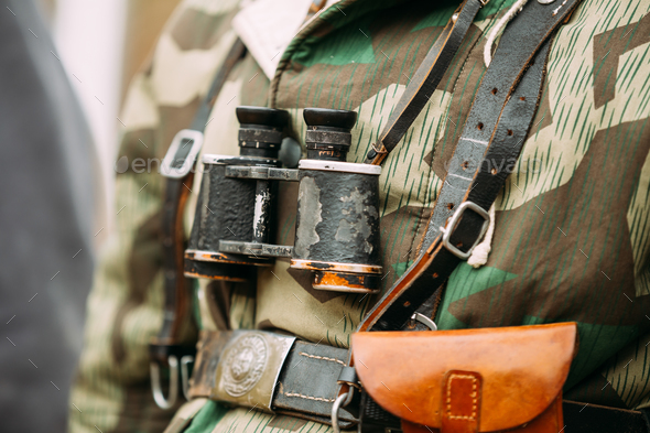 Close Up Of German Military Binoculars Of A German Soldier On Re - Stock Photo - Images