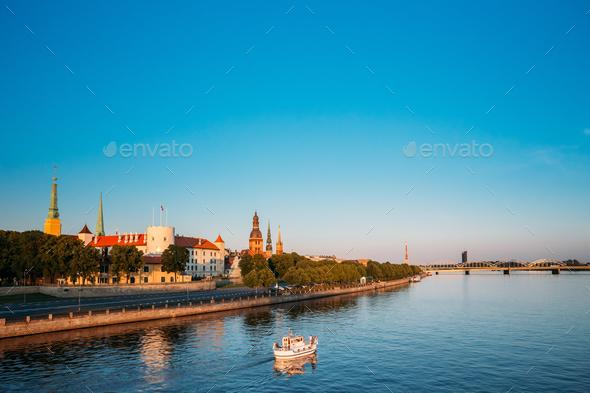 View To Promenad Of Daugava, In Riga, Latvia.  Ab Dambis. Travel - Stock Photo - Images