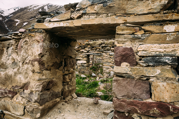 Window Of Old Dilapidated Ruined House In Ketrisi Village In Tru - Stock Photo - Images
