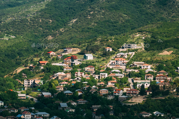 Mtskheta Georgia. Top View Of New Cottage Village Surrounded By - Stock Photo - Images