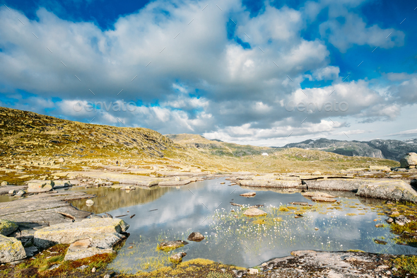 Mountains Landscape With Blue Sky In Norway. Travel In Scandinav - Stock Photo - Images