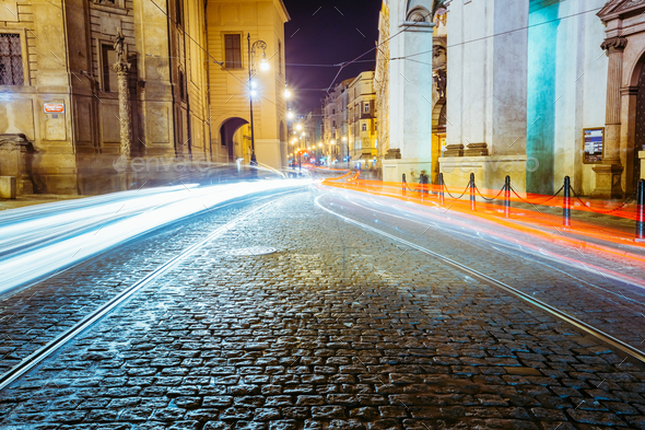 Night View of traffic lights in street in Prague, Czech republic - Stock Photo - Images