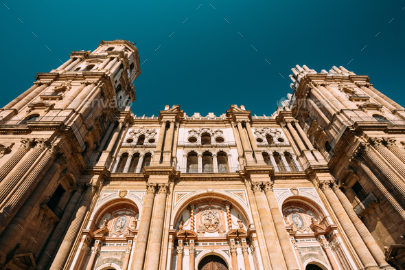 Malaga, Spain. Facade Wall Of Bell Tower Of The Cathedral Of The - Stock Photo - Images
