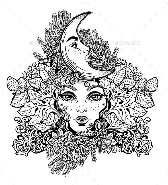 Shaman Woman with Crescent Moon in Ferns - Flowers & Plants Nature