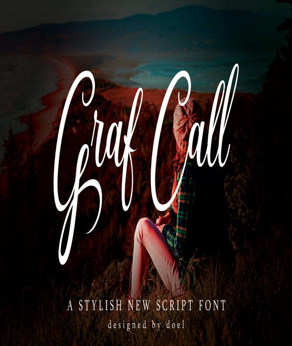 Graf Call New Stylish Script Font - Script Fonts