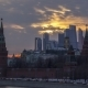 Moscow Kremlin Towers and Moscow City Business Center at Sunset. Colorful Clouds. Russia - VideoHive Item for Sale