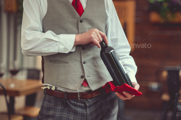 Waiter with a bottle - Stock Photo - Images