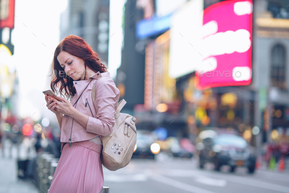 Traveling girl in Manhattan - Stock Photo - Images