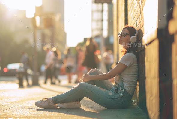 Young woman in the street - Stock Photo - Images