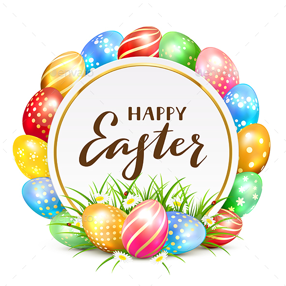 Card with Colorful Easter Eggs and Grass - Miscellaneous Seasons/Holidays