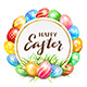 Card with Colorful Easter Eggs and Grass