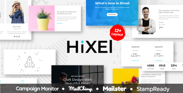 Hixel - Responsive Email Template for Agency 70+ Modules - StampReady Builder + Mailster & Mailchimp - Newsletters Email Templates