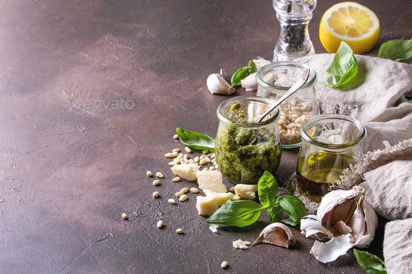Basil pesto sauce - Stock Photo - Images