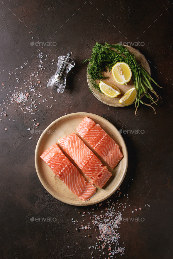 Raw salmon fillet - Stock Photo - Images
