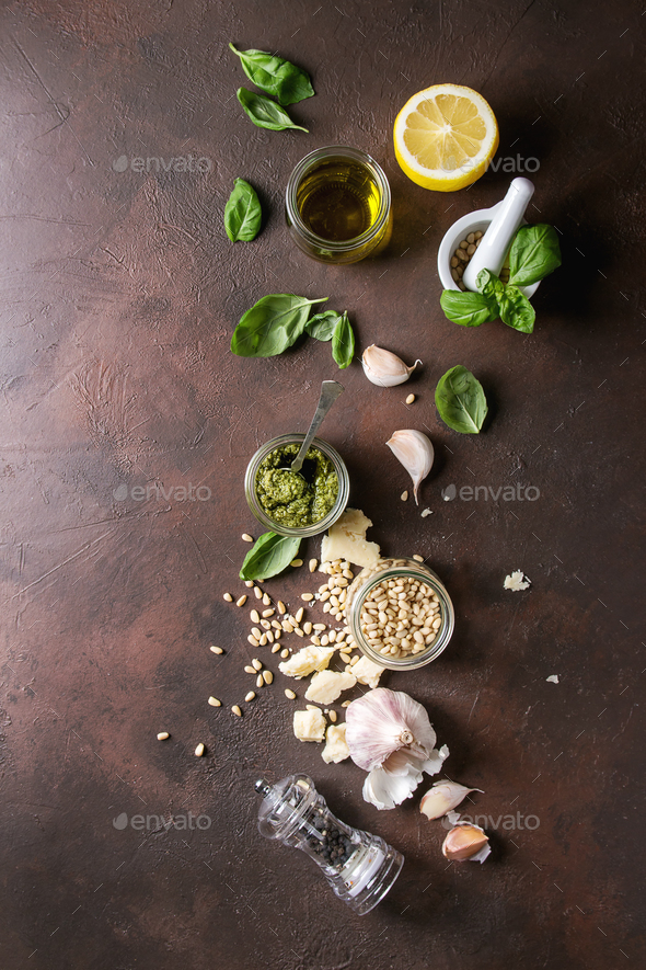 Basil pesto sauce - Stock Photo - Images
