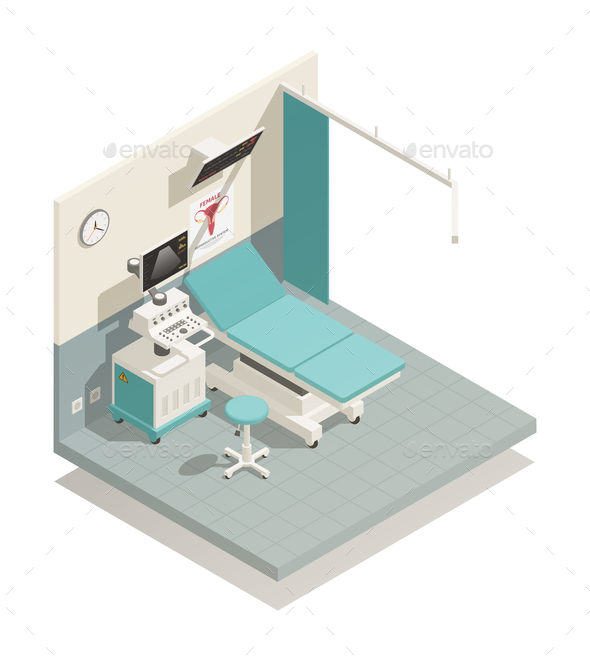 Gynecology Cabinet Isometric Composition - Health/Medicine Conceptual