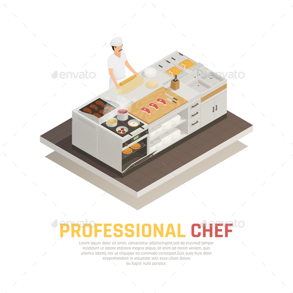 Kitchen Isometric Composition - Food Objects