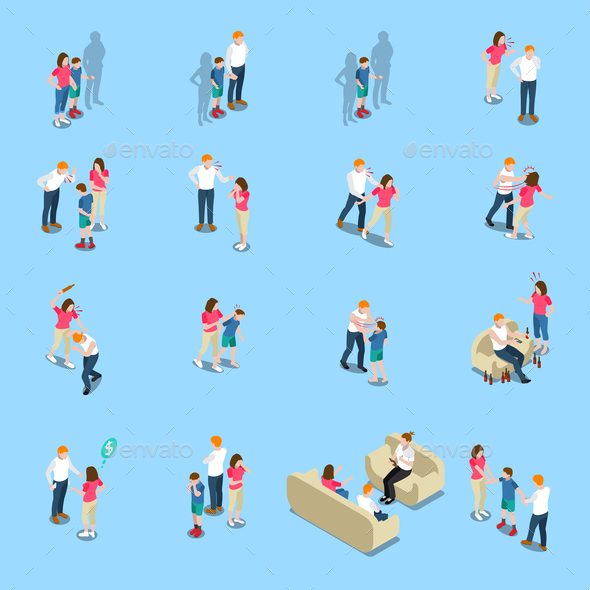 Family Problems Isometric Icons - People Characters