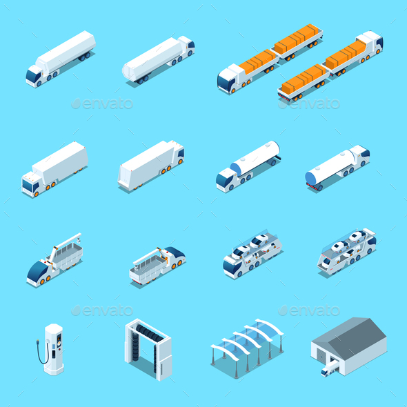 Futuristic Electric Vehicles Isometric Icons - Man-made Objects Objects