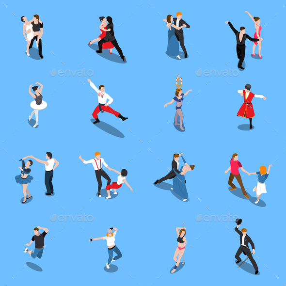 Dances Professional Performers Isometric People - People Characters