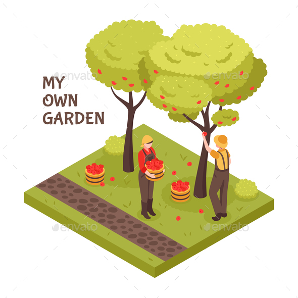 Gardening Isometric Concept - Food Objects