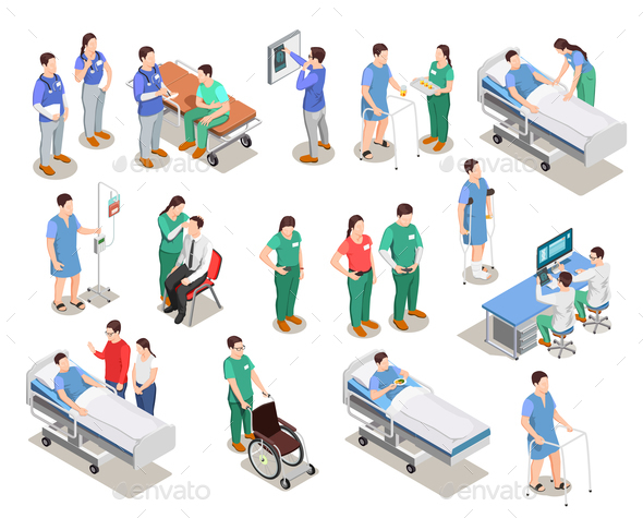 Hospital Staff Patients Isometric People - Health/Medicine Conceptual