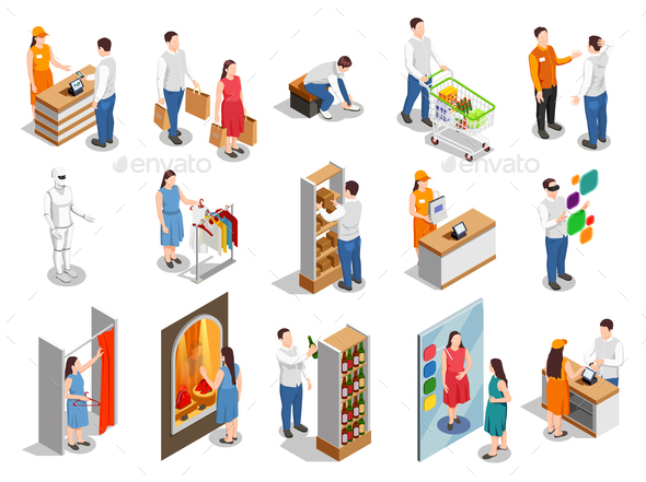 Commercial Consumers Isometric People - Miscellaneous Vectors