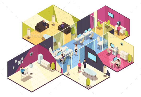 Isometric Office Building Interior - Concepts Business
