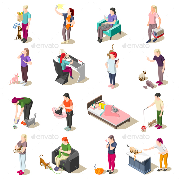 Cat Ordinary Life Isometric Icons - People Characters