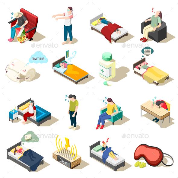 Sleep Disorder Isometric Icons - Health/Medicine Conceptual