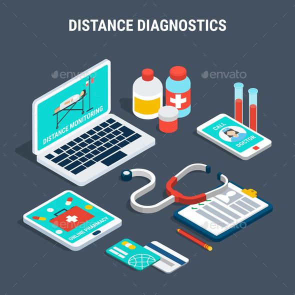 Medical Diagnostics Isometric Set - Health/Medicine Conceptual