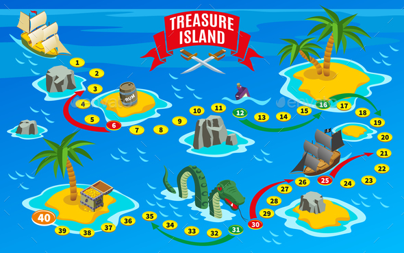Pirates Board Game Isometric Map - Backgrounds Decorative