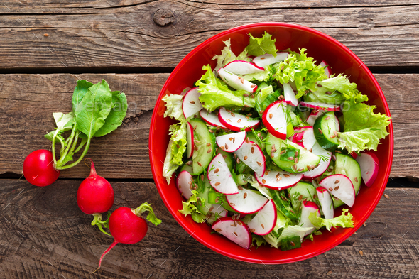Vegetarian vegetable salad of radish - Stock Photo - Images